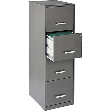 Office Designs Vertical File Cabinet, 18in. Deep 4-Drawer, Letter Size, Metallic Charcoal