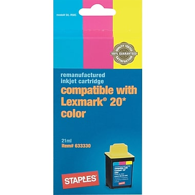 Staples® Remanufactured Color Ink Cartridge Compatible with Lexmark® 20