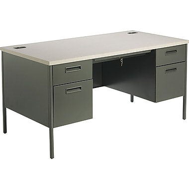 HON Metro Classic 60in. Double Pedestal Desk, Charcoal/Gray