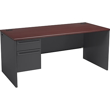 HON 38000 Series in.Lin. Workstation Desk for Right Return, 66in.W, Mahogany/Charcoal