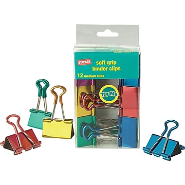 Staples® Medium Metallic Soft Grip Binder Clips, 1 1/4in. Size with 5/8in. Capacity