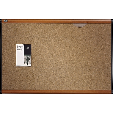 Quartet® Prestige Coloured Cork Bulletin Board with Light Cherry Frame, 48