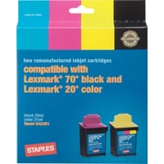 Staples® Remanufactured Black and Color Ink Cartridges Compatible with Lexmark® 70/20, 2/Pack