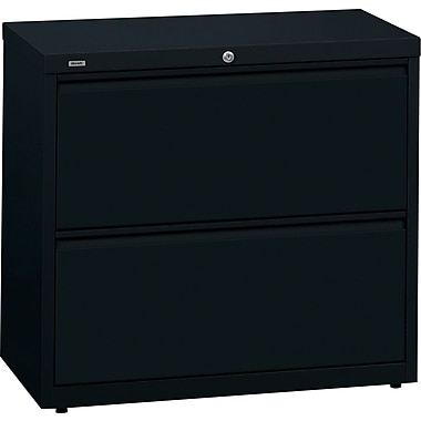 Hirsh HL 10000 Series Lateral File Cabinet, 2-Drawer, Black