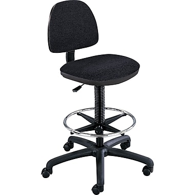 Safco Precision Extended Height Drafting Swivel Stool, Fabric, Black
