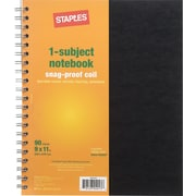 Staples® 1 Subject Notebook, Assorted, 9 x 11