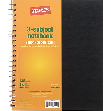 Staples 3 Subject Notebook, 9in. x 11in.