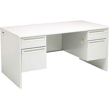 HON 38000 Series, Double Pedestal Desk 60in. x 30in., Light Gray/Light Gray