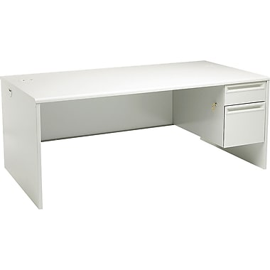 HON 38000 Series, 72in. x 36in. Right Single Pedestal Desk, Light Gray/Light Gray