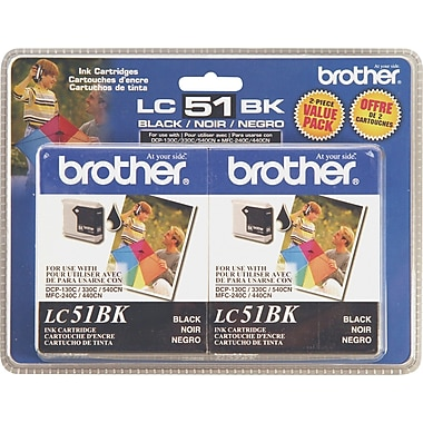 Brother LC51BK Black Ink Cartridges, 2/Pack
