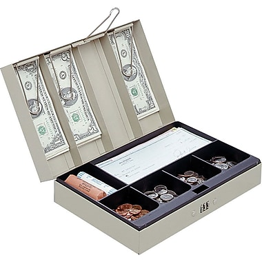 MMF Industries™ STEELMASTER® Cash Box with Combination Lock, Sand, 3 1/8