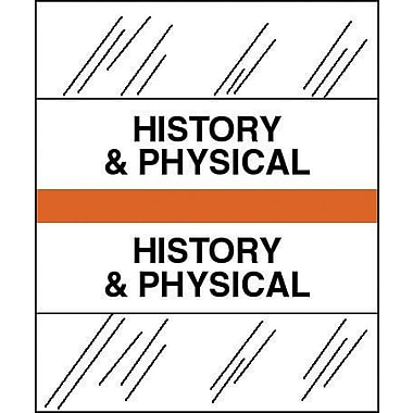 Tabbies® Medical Chart Index Divider Sheet Tabs, History & Physical, Orange