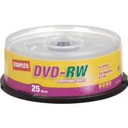 Staples 25/Pack 4.7GB DVD-RW, Spindle