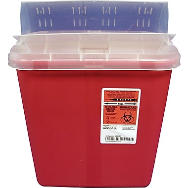 Unimed Kendall Sharps Container with Clear  Mail Box Drop Lid, 2 Gallon, Red