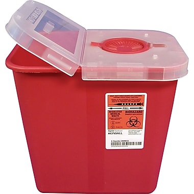 Unimed Kendall Sharps Container with Clear Hinged Lid, 2 Gallon, Red