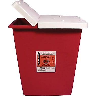 Unimed Kendall Sharps Container with Hinged Lid, 8 Gallon, Red
