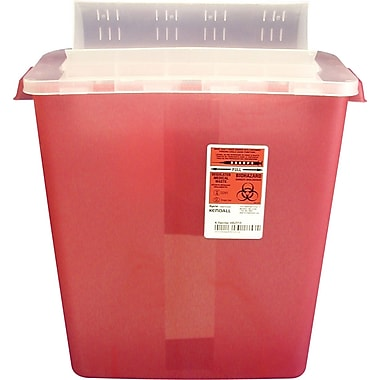 Unimed Kendall Sharps Container with Clear Horizontal Lid, 3 Gallon, Red