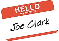 Avery® Print-or-Write Name Badges, 'HELLO' Red Border, 2 11/32' x 3 3/8'