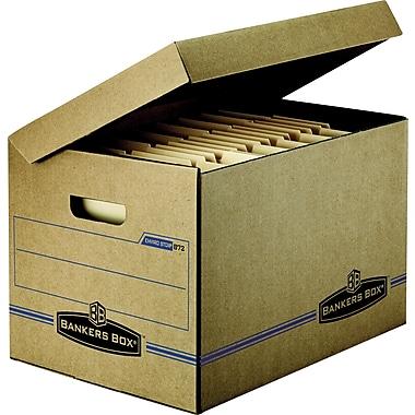 Bankers Box® - Boîtes de rangement Enviro-Stor lettre/légal, couvercle à charnière, paq./25
