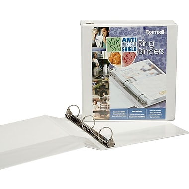 1in. Samsill® Antimicrobial View Binder with Locking Round Rings, White