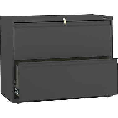 HON Brigade 800 Series Lateral File Cabinet, 36in. Wide, 2-Drawer, Charcoal