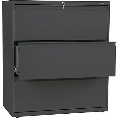 HON Brigade 800 Series Lateral File Cabinet, 36in. Wide, 3-Drawer, Charcoal