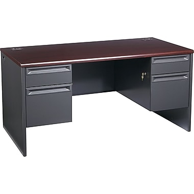 HON 38000 Series, Double Pedestal Desk 60in. x 30in., Mahogany/Charcoal