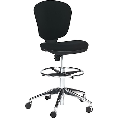 Safco Metro Mid-Back Fabric Swivel/Tilt Chair, Armless, Black