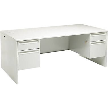 HON 38000 Series, Double Pedestal Desk, 72in. x 36in., Light Gray/Light Gray