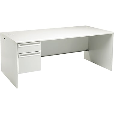HON 38000 Series, 72in. x 36in. Left Single Pedestal Desk, Light Gray/Light Gray