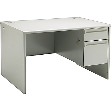 HON 38000 Series, 48in. x 30in. Right Single Pedestal Desk, Light Gray/Light Gray