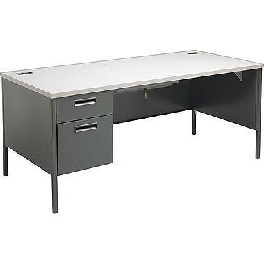 HON Metro Classic 66in. Left Single Pedestal Desk, Charcoal/Gray