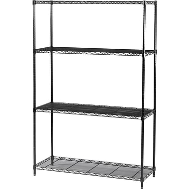 Safco Industrial Wire Shelving, 4 Shelves, Black, 72