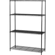 Safco Industrial Wire Shelving, 4 Shelves, Black, 72H x 48W x 18D