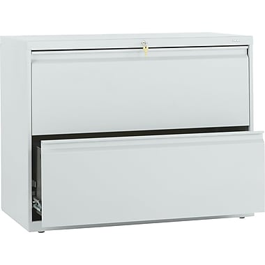 HON Brigade 800 Series Lateral File Cabinet, 36in. Wide, 2-Drawer, Light Gray