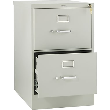 HON 310 Series Vertical File Cabinet, 26 1/2in. 2-Drawer, Legal Size, Light Gray