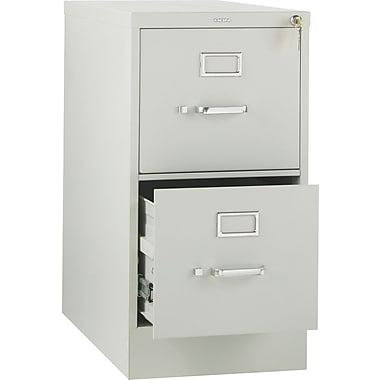 HON 310 Series Vertical File Cabinet, 26 1/2in. 2-Drawer, Letter Size, Light Gray