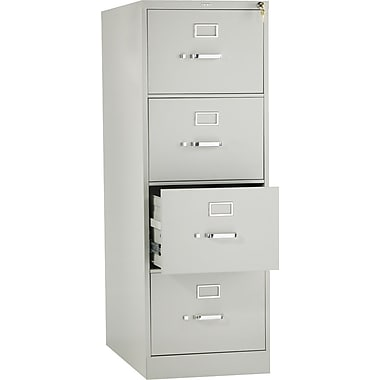 HON 310 Series Vertical File Cabinet, 26 1/2in. 4-Drawer, Legal Size, Light Gray
