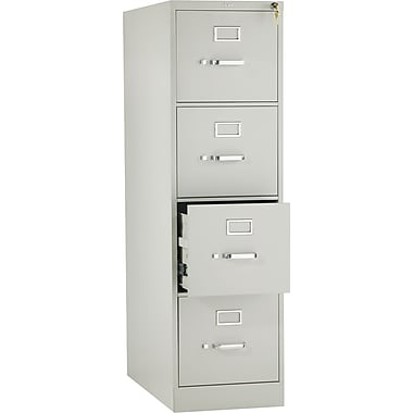 HON 310 Series Vertical File Cabinet, 26 1/2in. 4-Drawer, Letter Size,  Light Gray