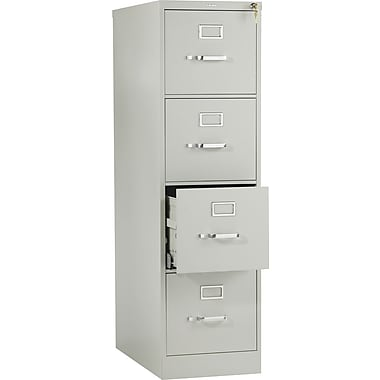 HON 510 Series Vertical File Cabinet, 25in. 4-Drawer, Letter Size, Light Gray