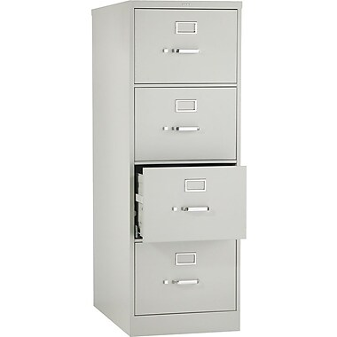 Hon® 320 Series 4-Drawer Vertical File Cabinet, Light Gray, Legal