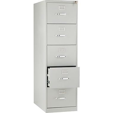 HON 210 Series Vertical File Cabinet, 28 1/2in. 5-Drawer, Legal Size,  Light Gray