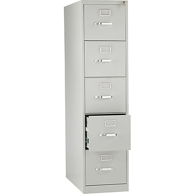 HON 210 Series Vertical File Cabinet, 28 1/2in. 5-Drawer, Letter Size, Light Gray