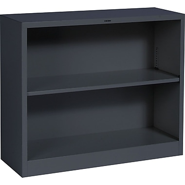 HON® Brigade 2-Shelf Metal Bookcase, Charcoal