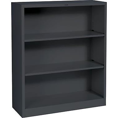 HON® Brigade 3-Shelf Metal Bookcase, Black