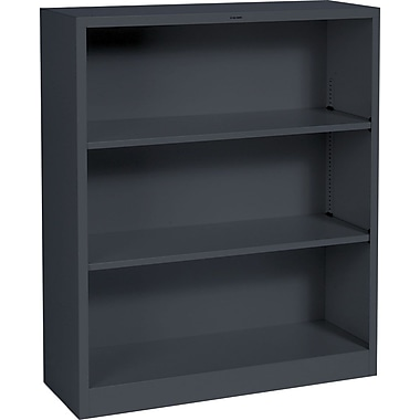 HON® Brigade 3-Shelf Metal Bookcase, Charcoal