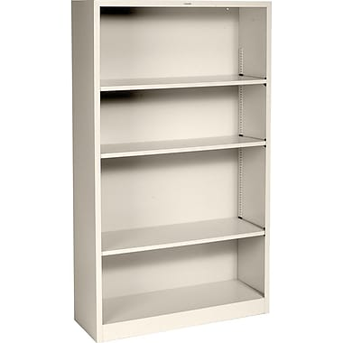 HON® Brigade 4-Shelf Metal Bookcase, Putty