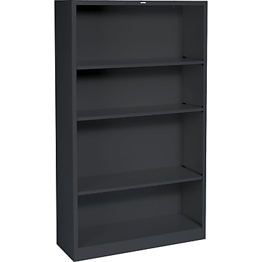 HON® Brigade 4-Shelf Metal Bookcase, Black