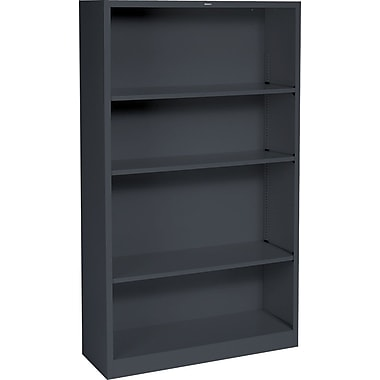 HON® Brigade 4-Shelf, Metal Bookcase, Charcoal