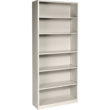 HON® Brigade 6-Shelf Metal Bookcase, Putty